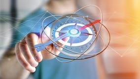 Affärsman som rymmer en navigeringkompass - framförd 3d Royaltyfri Foto