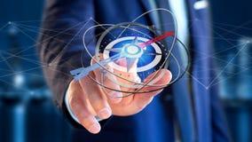 Affärsman som rymmer en navigeringkompass - framförd 3d Arkivbild