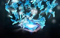 Affärsman som rymmer gruppen för tolkning 3D av blått folk Royaltyfri Foto