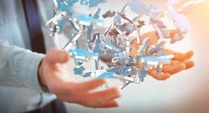 Affärsman som rymmer gruppen för tolkning 3D av blått folk Royaltyfria Bilder
