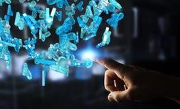 Affärsman som rymmer gruppen för tolkning 3D av blått folk Royaltyfri Bild
