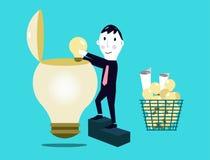 Affärsman som sätter idéer in i affärsidékula. Arkivfoton