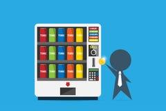 Affärsman som sätter in myntet in i varuautomaten för att köpa tidcanen, tid och affärsidé Arkivfoto