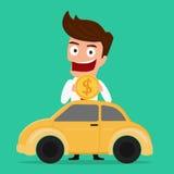 Affärsman som sätter myntet inom bilen som investerar pengar i bilen, investeringbegrepp royaltyfri illustrationer