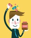 Affärsman som sätter vitaminer i hans huvud bakgrund suddighetdde den skyddande pillen för maskeringen för hälsa för omsorgsbegre Royaltyfri Foto