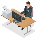 Affärsman som ser bärbar datorskärmen Affärsman på arbete working för datorman Beställning från Kina Plan 3d Royaltyfri Foto