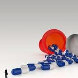 Affärsman som ser medicin för kapsel 3d Arkivbild