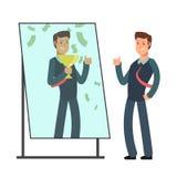 Affärsman som ser sig som är lycklig och som är lyckad i spegelreflexion Framgång i affär och vinnarevektorbegrepp Royaltyfri Foto