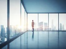 Affärsman som ser soluppgång 3d framför Arkivfoto