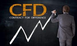 Affärsman som skriver CFD på svart tavlabegrepp Arkivbilder
