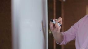 Affärsman som skriver hans idéer på det vita brädet Hand med markören arkivfilmer