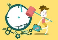 Affärsman som slår klockan och går på semester Arkivbilder