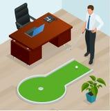 Affärsman som spelar mini- golf i hans kontor Göra perfekt för produkter liksom t-skjortor, kuddar, albumräkningar, websites stock illustrationer