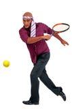 Affärsman som spelar tennis Fotografering för Bildbyråer