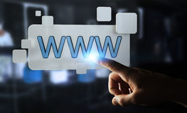 Affärsman som surfar på internet genom att använda den känsel- rengöringsdukadressstången 3D Royaltyfria Bilder