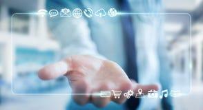 Affärsman som surfar på internet med digital känsel- manöverenhet 3 Arkivbilder
