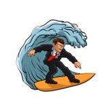 Affärsman som surfar på våg vektor illustrationer