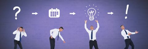 Affärsman som tänker i följd med idéer och kläckning av ideerprocesssymboler royaltyfri foto