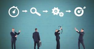 Affärsman som tänker i följd med idéer och kläckning av ideerprocesssymboler royaltyfria bilder