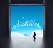 Affärsman som tänker i fabrik och ser till himmel stock illustrationer