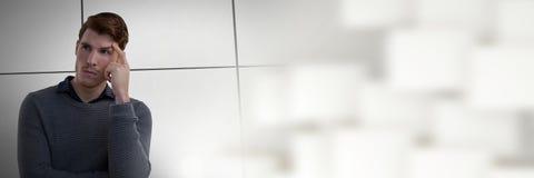 Affärsman som tänker med ljus övergång fotografering för bildbyråer