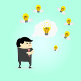 Affärsman som tänker ny idé Arkivfoton