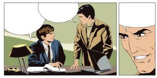 Affärsman som talar något en kollega royaltyfri illustrationer