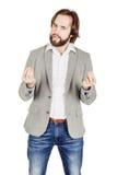Affärsman som talar under presentation och använder handgester royaltyfria bilder
