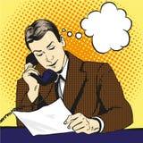 Affärsman som talar vid telefon- och läsningdokument royaltyfri illustrationer