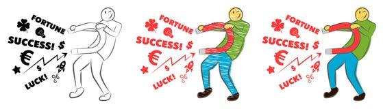Affärsman som tilldrar lycka med en stor magnet Id? och aff?rsid? lyckad aff?r Grabben rymmer en magnet Hand dragen ca stock illustrationer
