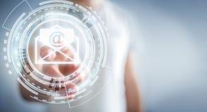 Affärsman som trycker på för flygemail för tolkning 3D symbolen med hans fena Royaltyfri Fotografi