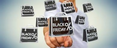 Affärsman som tycker om den svarta tolkningen för fredag försäljningar 3D Fotografering för Bildbyråer