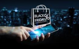 Affärsman som tycker om den svarta tolkningen för fredag försäljningar 3D Royaltyfri Foto