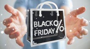 Affärsman som tycker om den svarta tolkningen för fredag försäljningar 3D Arkivfoton