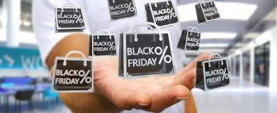 Affärsman som tycker om den svarta tolkningen för fredag försäljningar 3D Royaltyfri Fotografi