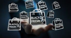 Affärsman som tycker om den svarta tolkningen för fredag försäljningar 3D Arkivfoto