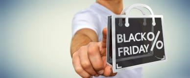 Affärsman som tycker om den svarta tolkningen för fredag försäljningar 3D Royaltyfria Foton