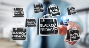 Affärsman som tycker om den svarta tolkningen för fredag försäljningar 3D Royaltyfria Bilder