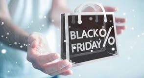 Affärsman som tycker om den svarta tolkningen för fredag försäljningar 3D Arkivbild