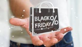 Affärsman som tycker om den svarta tolkningen för fredag försäljningar 3D Arkivbilder