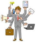 Affärsman som utför multitasking brun hårungdom royaltyfri illustrationer