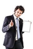 Affärsman som visar en minnestavla Arkivbilder