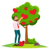 Affärsman Standing Near Tree som blomstrar med hjärtavektorn illustration royaltyfri illustrationer