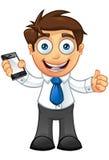 Affärsman - Thums upp med mobil Royaltyfria Bilder