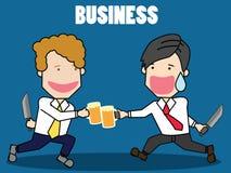 Affärsman två med öl stock illustrationer