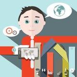 Affärsman Vector och samkvämmassmediasymboler stock illustrationer