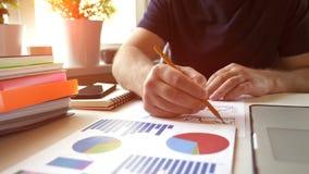 Affärsmananalysmaterielet kartlägger, diagrams i finansiell rapport stock video
