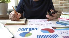 Affärsmananalysmaterielet kartlägger, diagrams i finansiell rapport lager videofilmer