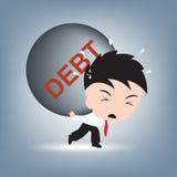 Affärsmanbehovshjälp med skuldbörda på hans skuldra, finansiell begreppsillustrationvektor i plan design Arkivfoto
