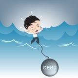 Affärsmanbehovshjälp med skuldbörda på vatten, finansiell begreppsillustrationvektor i plan design Royaltyfria Foton